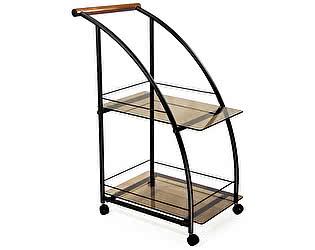 Стол сервировочный Мебелик Баккара чёрный/ тонированное стекло