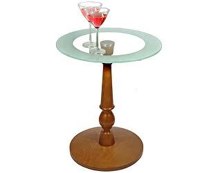 Стол журнальны Мебелик Рио 1 средне-коричневый/прозрачное