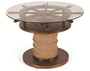 Стол журнальный Мебелик Штурвал тёмно-коричневый/прозрачное