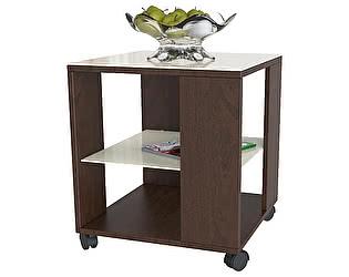 Стол журнальный Мебелик BeautyStyle 6 темно-коричневый/стекло бежевое