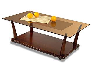 Стол журнальный Мебелик Квартет 6М средне-коричневый/тонированный