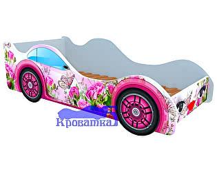 Кровать-машина Бабочка в розах