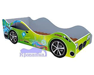 Кровать-машина Спорт зеленая