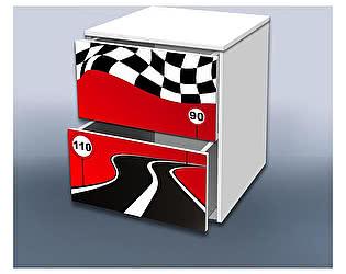 Тумба Кроватка5 Гонка красная 2 с ящиками