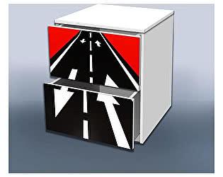 Тумба Кроватка5 Гонка красная с ящиками