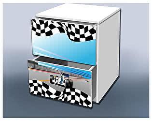 Тумба Кроватка5 Гонка с ящиками голубая