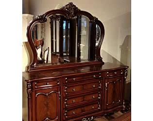Купить комод МИК Мебель Сервант с зеркалом Глория MK-2721-BG Темный орех с золотом