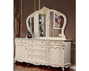 Купить комод МИК Мебель Сервант с зеркалом MK-2721-WG Молочный с золотом