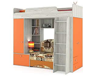 Кровать-чердак Mobi Тетрис 1 МС 366 с диваном, цвет дуб белый/оранжевый/ткань 10104