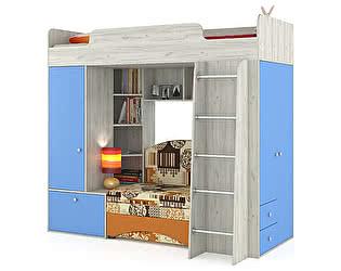 Кровать-чердак Mobi Тетрис 1 МС 366 с диваном, цвет дуб белый/капри/ткань 10104