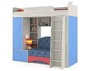 Кровать-чердак Mobi Тетрис 1 МС 366 с диваном, цвет дуб белый/капри/ткань 10202
