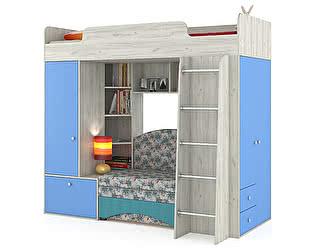 Кровать-чердак Mobi Тетрис 1 МС 366 с диваном, цвет дуб белый/капри/ткань 10206