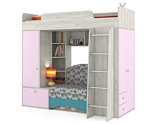Кровать-чердак Mobi Тетрис 1 МС 366  с диваном, цвет дуб белый/лаванда/ткань 10206