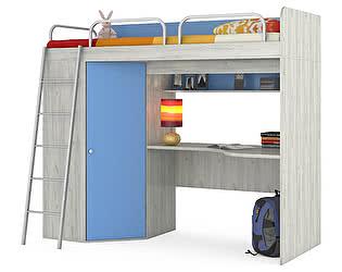 Кровать-чердак Mobi Тетрис 1 МС 345 со столом, лестницей и ограждениями