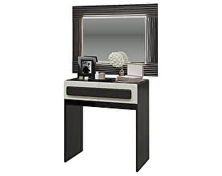 Стол туалетный Мэри-Мебель Престиж с зеркалом с подсветкой СП-10 + СП-12СП, цвет венге цаво/жемчужны