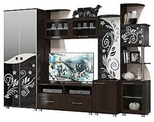 Гостиная Мэри-Мебель Каролина Комплектация 03 Шкаф + Тумба под ТВ + Барная секция + Правая секция