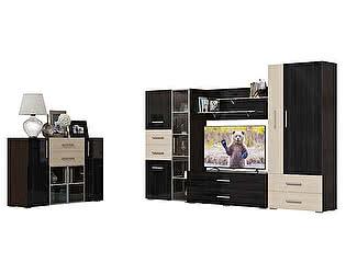 Гостиная Мэри-Мебель Капучино Комплектация 01, Комод + Шкаф-стекл. + Тумба ТВ + Панель ТВ + Шкаф-бар