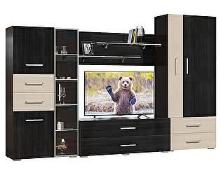 Гостиная Мэри-Мебель Капучино Комплектация 02, Шкаф-стекл. + Тумба ТВ + Панель ТВ + Шкаф-бар