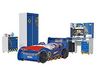Детская Мэри-Мебель Формула 2 01 Шкаф-купе + Комод + Кровать Машина + Компьютерный стол