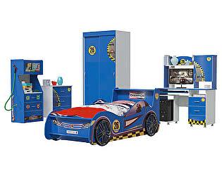 Детская Мэри-Мебель Формула 2 02 Бензоколонка + Шкаф-купе + Комод + Кровать Машина + Компьютерный ст