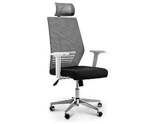 Купить кресло Норден Престиж черная сетка. черная ткань, белый пластик