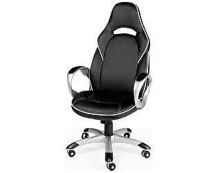 Купить кресло Норден Мустанг Х серый пластик, черная экокожа, белая строчка