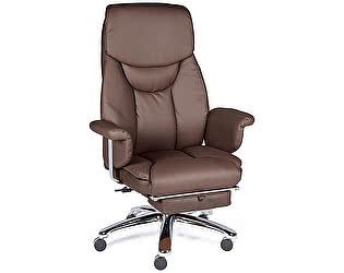 Купить кресло Норден Парламент ( brown) сталь, хром, коричневый экокожа