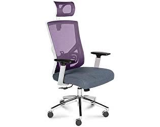 Купить кресло Норден Гарда серая ткань, вишневая сетка, белый пластик