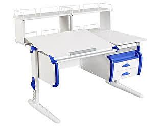 Купить стол Дэми СУТ-25-04Д2  WHITE DOUBLE с раздельной столешницей, двумя задними двухъярусными приставка