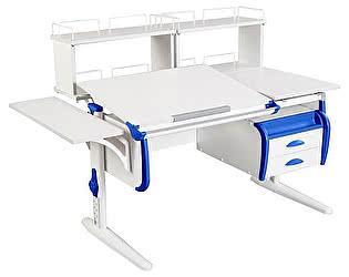 Купить стол Дэми СУТ 25-05Д2  WHITE DOUBLE с раздельной столешницей, боковой приставкой, двумя задними дву