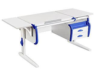 Купить стол Дэми СУТ 25-03К  WHITE DOUBLE с раздельной столешницей, боковой приставкой и подвесной тумбой