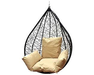Подвесное кресло Облачный замок Алания черное XXL с бежевой подушкой
