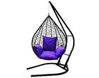 Подвесное кресло Облачный замок Алания черное XXL с фиолетовой подушкой