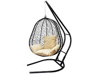 Подвесное кресло Облачный замок Капри XXL черное с бежевой подушкой