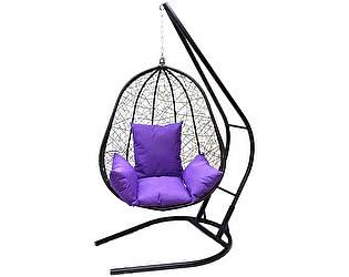 Подвесное кресло Облачный замок Капри XXL черное с фиолетовой подушкой