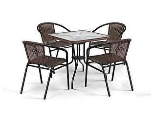 Комплект плетеной мебели Афина-мебель TLH-037/073-70х70 Brown 4Pcs