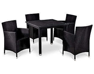 Комплект плетеной мебели Афина-мебель T246ST/Y189D-W5 Black 4Pcs