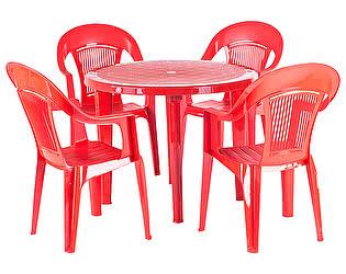 Купить  комплект садовой мебели ЭЛП Набор пластиковой мебели Стол круглый + Кресло Венеция