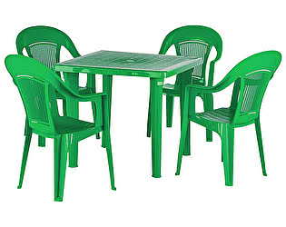 Купить  комплект садовой мебели ЭЛП Набор пластиковой мебели Стол квадратный + Кресло Венеция