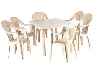 Купить  комплект садовой мебели ЭЛП Набор пластиковой мебели Стол прямоугольный + Кресло Венеция, 6 шт.