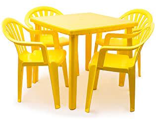 Купить  комплект садовой мебели Стандарт Пластик Набор пластиковой мебели Стол квадратный + Кресло №1 Пальма-1