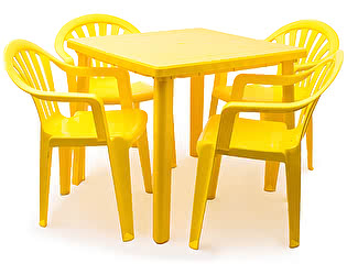 Набор пластиковой мебели Стандарт Пластик Стол квадратный (800х800х710) + Кресло №1 Пальма-1 (560х