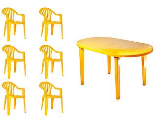 Купить  комплект садовой мебели Стандарт Пластик Набор пластиковой мебели Стол овальный + Кресло №1 Пальма-1