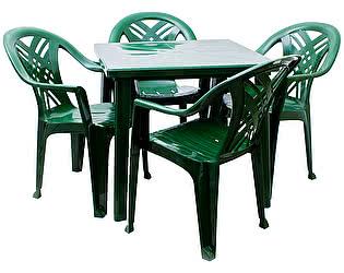 Набор пластиковой мебели Стандарт Пластик Стол квадратный (800х800х710)+Кресло №6 Престиж-2 (660x6