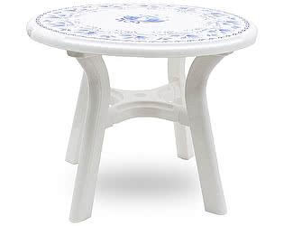 Пластиковый стол Стандарт Пластик круглый Премиум с деколем Гжель д. 940 мм
