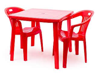 Купить  комплект садовой мебели Стандарт Пластик Набор пластиковой мебели Стол квадратный + Кресло №5 Комфорт-1