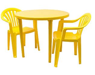 Купить  комплект садовой мебели Стандарт Пластик Набор пластиковой мебели Стол круглый+Кресло №1 Пальма-1