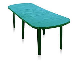 Пластиковый стол Отдых с комфортом овальный Комби со вставкой (Газсервис)