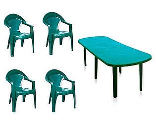 Набор пластиковой мебели Отдых с комфортом Стол овальный Комби со вставкой + Кресло Барселона