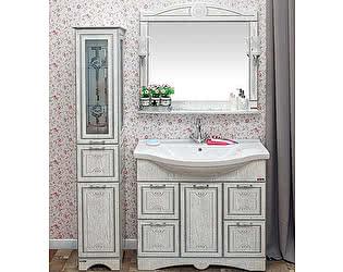 Мебель для ванной Sanflor Адель 100 белая, патина серебро